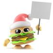 Burger Santa with placard