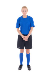 female soccer player in blue uniform standing isolated on white