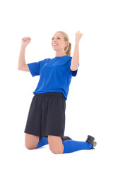 female soccer player in blue uniform celebrating goal isolated o