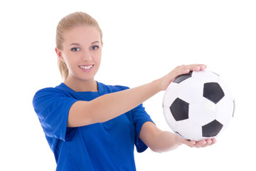 beautiful woman in blue shirt with soccer ball