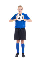 young beautiful woman in blue with soccer ball