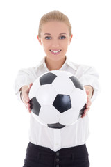 beautiful business woman with soccer ball isolated on white