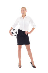 beautiful business woman posing with soccer ball isolated on whi