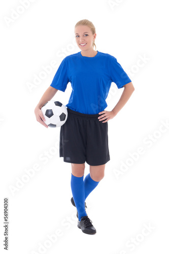 female soccer player in blue uniform isolated on white