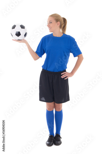 female soccer player in blue uniform holding the ball isolated o
