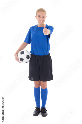 female soccer player in blue uniform holding the ball thumbs up