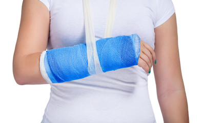 Patient with a cast on arm