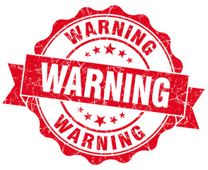 Warning Grunge red scratched isolated Stamp