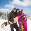 couple on ski holiday in mountains