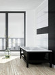 Modern black and white bathroom interior
