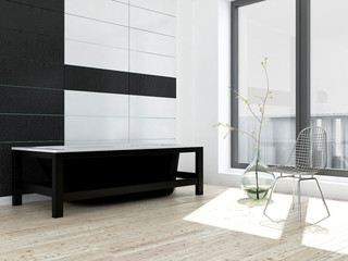 Modern black and white bathroom interior