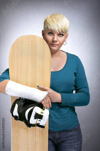Snowboarder with  broken arm