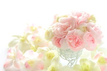 ピンクのカーネーションと花びら