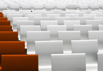 White and red auditorium seats