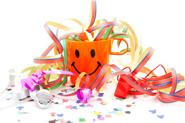 Party cup with streamers and confetti