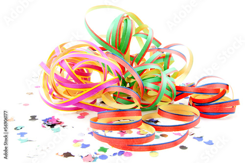 Colorful party streamers and confetti