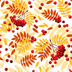 Seamless pattern with rowan leaves and rowanberries.