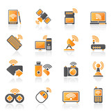 Wireless and communications icons - vector icon set