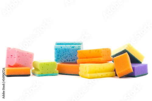 colorful cleaning sponges isolated on white