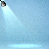 Blue vector floodlight on ornate background