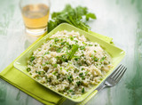 risotto with arugula, selective focus