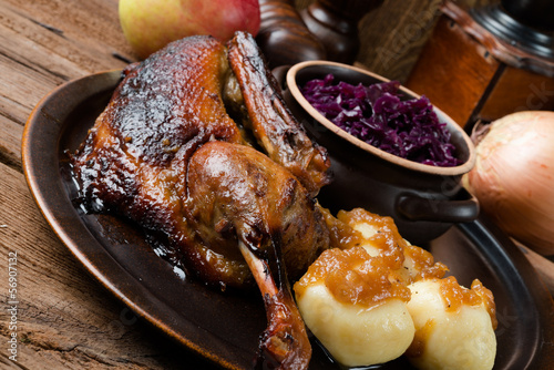 duck with dumplings and pickled plum