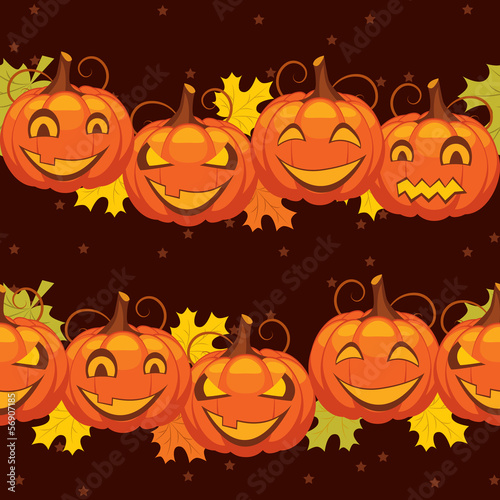 vector seamless background Halloween pumpkin