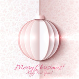 White and pink paper vector Christmas ball