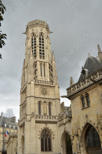 Gothic Tower, st Germain l'Auxerrois church, Paris
