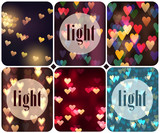 Heart Light. Set of backgrounds