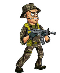 Soldier with sub machine gun