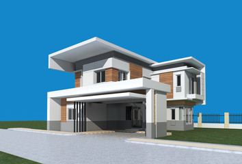 3D render of modern building with blue background