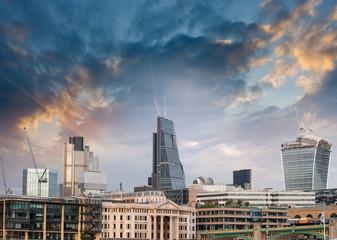 London, UK. Beautiful sunset view of city modern skyline