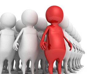 3d men business team group with red individual leader