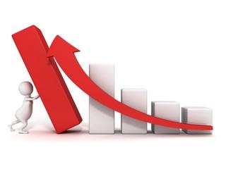 3d man push up successful business bar graph rising arrow