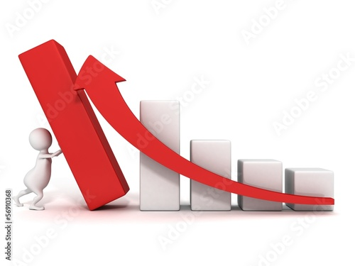 3d man push up successful business bar graph rising arrow