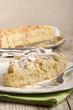 crumb cake with powdered sugar