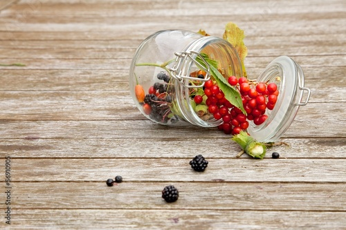 Fruits of the forest on woody background