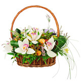 Bouquet from orchids in wicker basket isolated on white backg