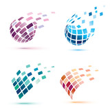 abstract globe icons, business and comunication concept