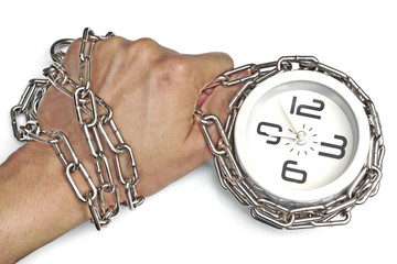 A hand chained with a clock