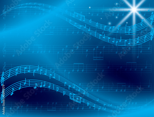 abstract blue music background with star - vector