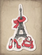 Fashion illustration. Eiffel Tower, shoes and handbag