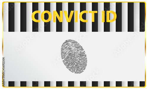 Convict Identification Card With Fingerprint Registration