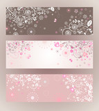 Beautiful floral horizontal banners