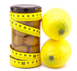 olive and lemons and measuring tape- healthy food