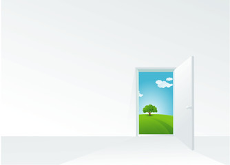 Door to the summer. Vector template.