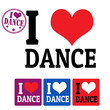 I love Dance sign and labels
