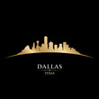 Dallas Texas city skyline silhouette black background