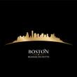 Boston Massachusetts city skyline silhouette black background